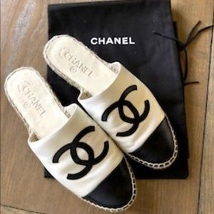 Brand New Chanel Black Ivory Espadrilles Slides
